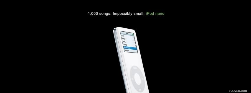 Photo ipod nano in the colour white Facebook Cover for Free