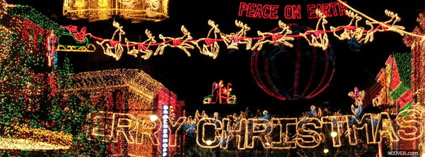 Photo Merry Christmas lights Facebook Cover for Free