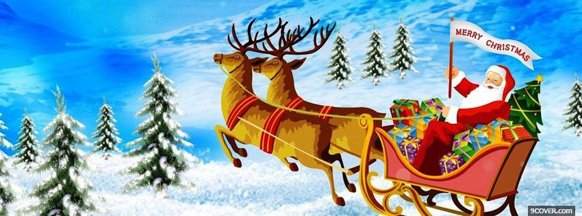 merry christmas with santa claus Photo Facebook Cover