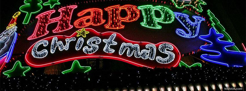 Photo Happy Christmas Lights Facebook Cover for Free