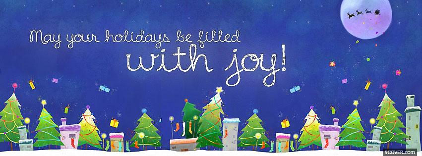 Photo Happy Holidays Christmas Facebook Cover for Free