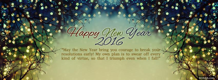 Photo happy new year 2016 with message Facebook Cover for Free