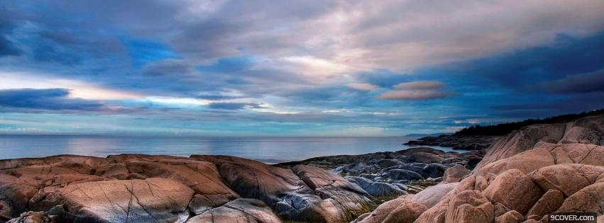 Photo nice rocky beach nature Facebook Cover for Free
