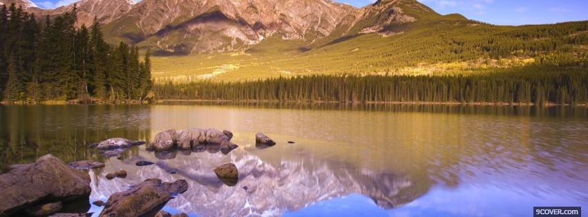 Photo lake mountain reflection nature Facebook Cover for Free