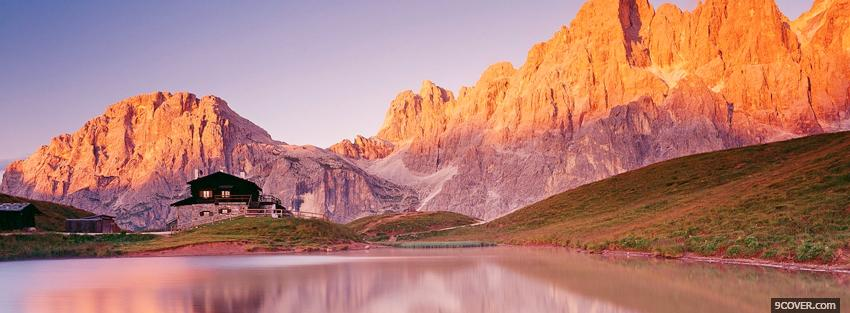Photo home and mountains nature Facebook Cover for Free