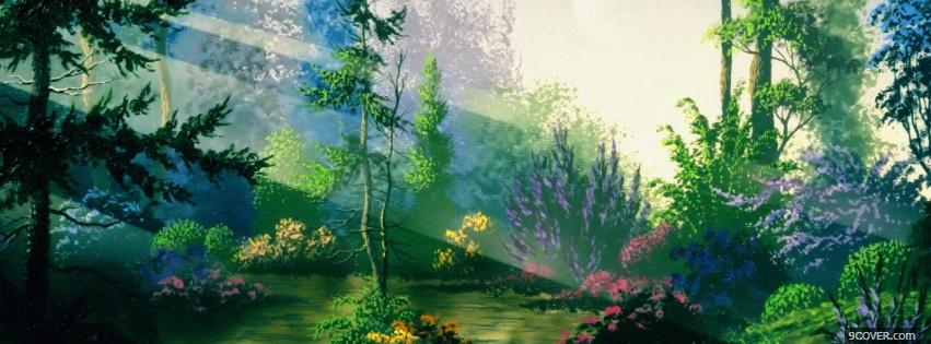 Photo fantasy forest nature Facebook Cover for Free