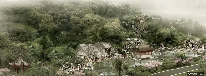 Photo chinese landscape nature Facebook Cover for Free