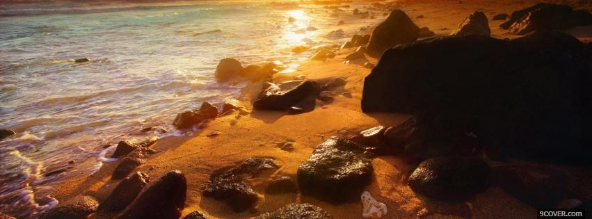 Photo rocks seashore nature Facebook Cover for Free