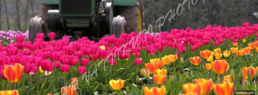 Photo tractor garden nature Facebook Cover for Free