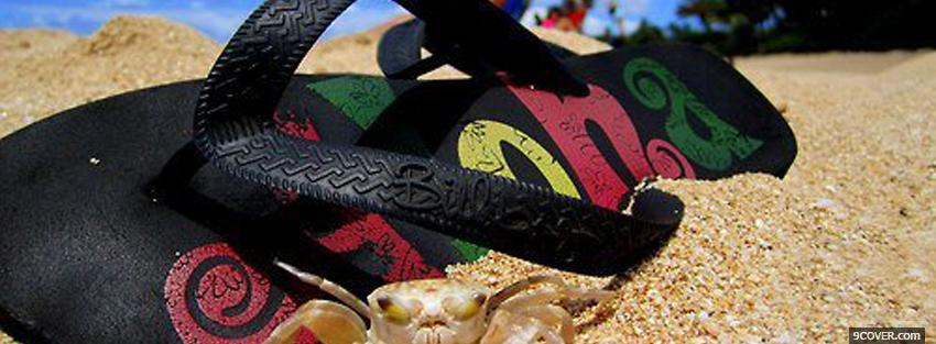 Photo sandal sand nature Facebook Cover for Free