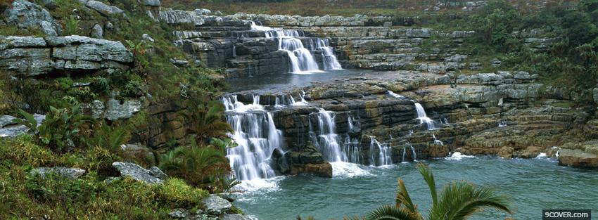 Photo rocky waterfalls nature Facebook Cover for Free