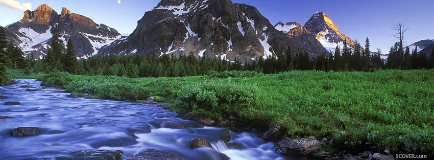 Photo river mountains nature Facebook Cover for Free