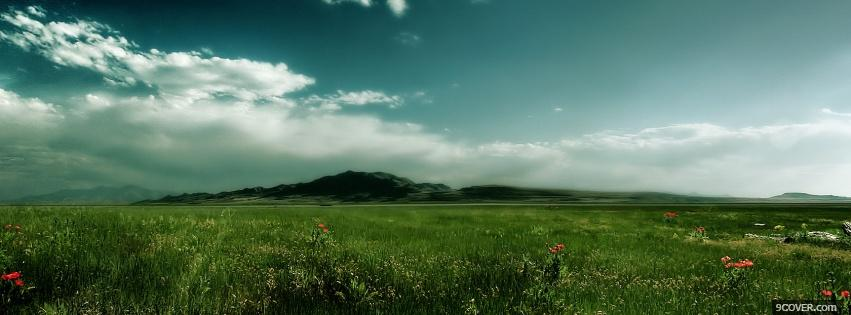 Photo vaste green field nature Facebook Cover for Free