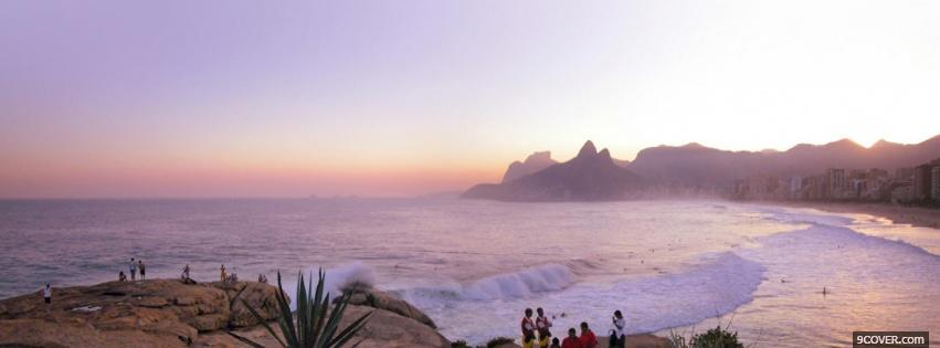 Photo rio sunset nature Facebook Cover for Free