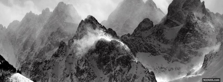 Photo black and white mountains Facebook Cover for Free