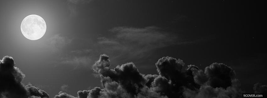 Photo full moon black and white facebook cover for free