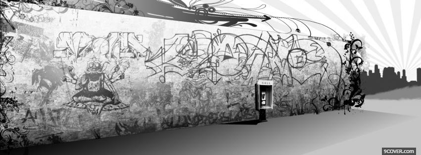 Photo graffiti black and white Facebook Cover for Free