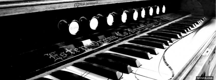 Photo piano black and white Facebook Cover for Free