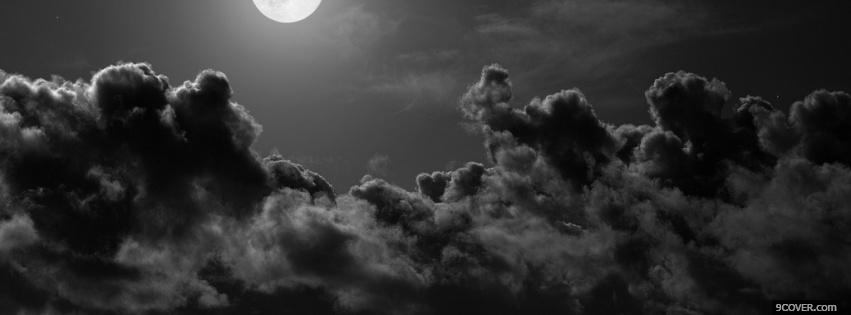Photo moon and clouds Facebook Cover for Free