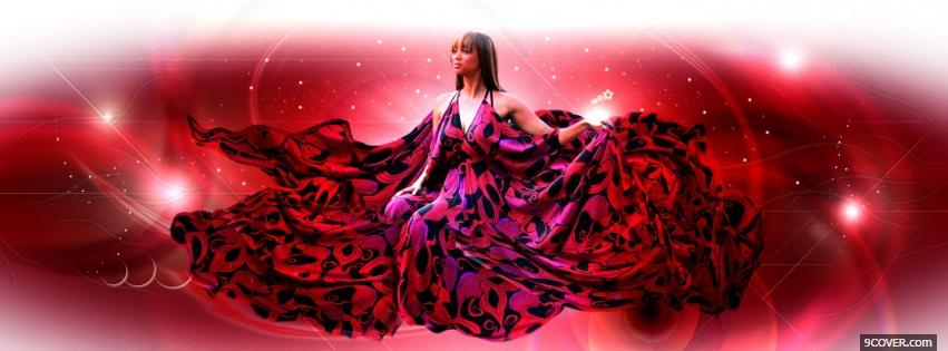 Photo big red dress fashion Facebook Cover for Free