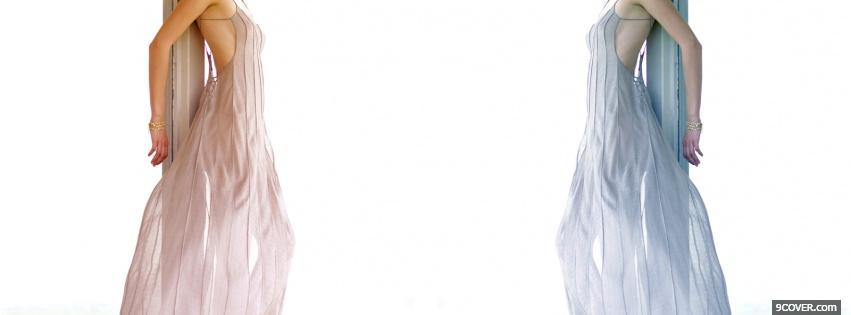Photo blue pink dress fashion Facebook Cover for Free
