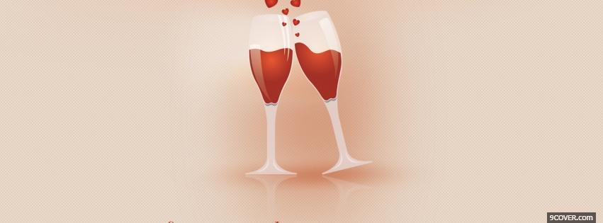 Photo red wine valentines Facebook Cover for Free