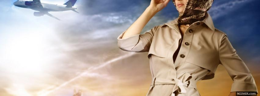 Photo woman and airplane Facebook Cover for Free