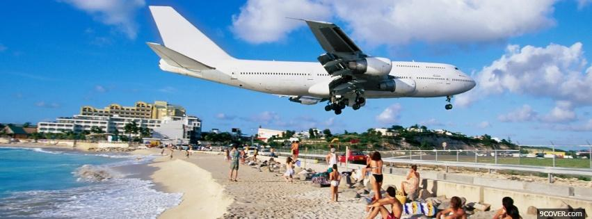 Photo airplane on the beach Facebook Cover for Free
