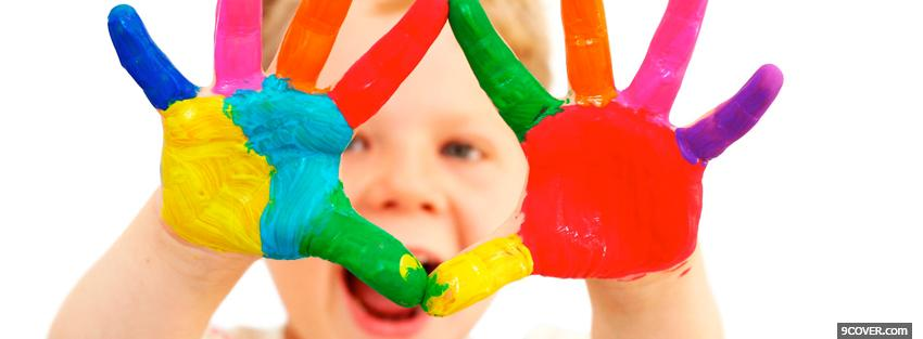Photo baby finger painting Facebook Cover for Free