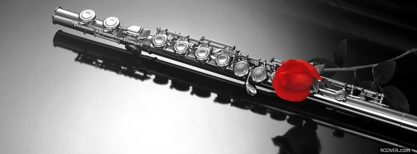 Photo flute black and red Facebook Cover for Free