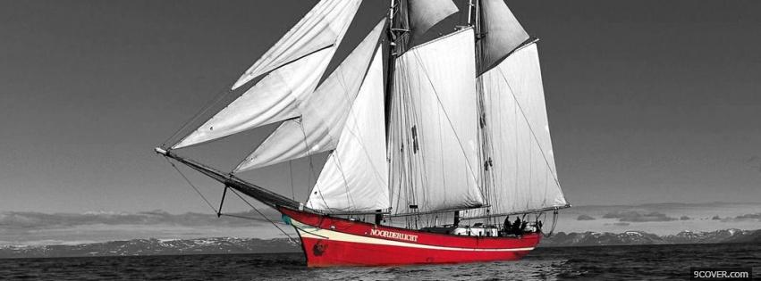 Photo boat black and red Facebook Cover for Free