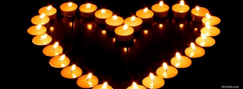 Photo heart of candles Facebook Cover for Free