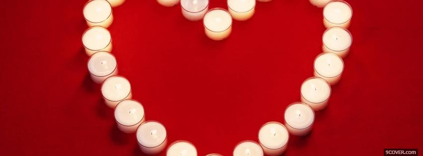 Photo white heart candles Facebook Cover for Free