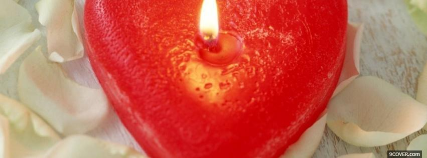 Photo red heart candle Facebook Cover for Free