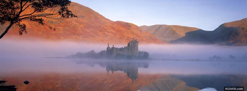 Photo mist mountains kilchurn castle Facebook Cover for Free