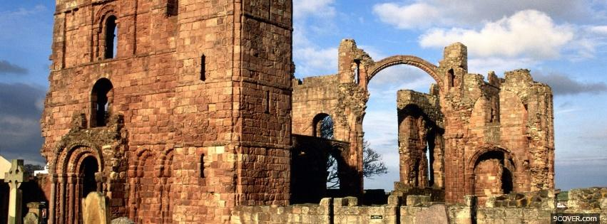 Photo lindisfarne priory old castle Facebook Cover for Free