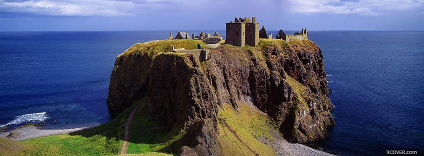 Photo sea and dunnottar castle Facebook Cover for Free