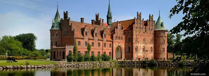 Photo brick red egeskov castle Facebook Cover for Free