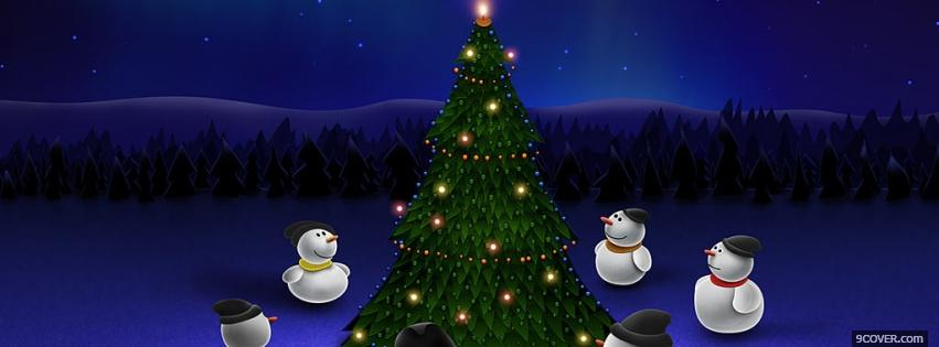 Photo beautiful tree and snowmans Facebook Cover for Free