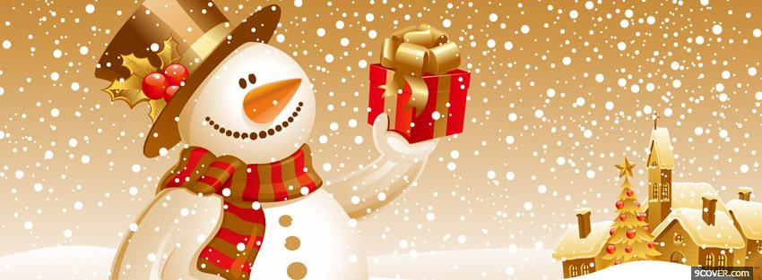 Photo snowman and present christmas Facebook Cover for Free
