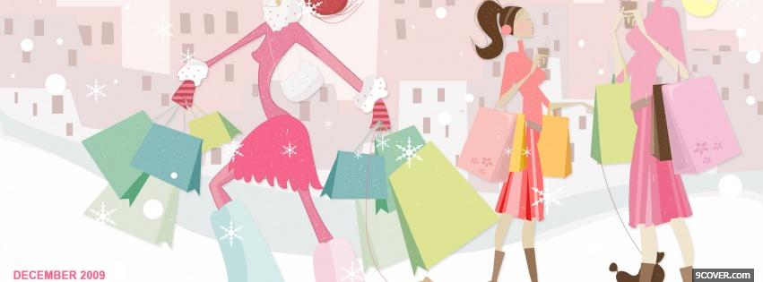 Photo christmas shopping Facebook Cover for Free