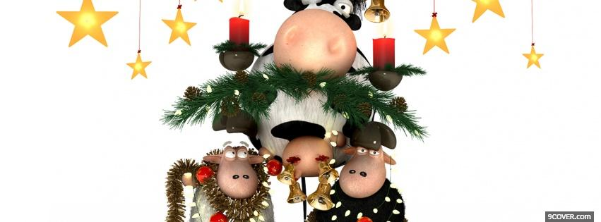 Photo cows celebrating christmas Facebook Cover for Free