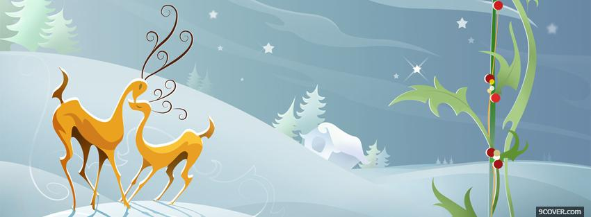 Photo cute reindeers christmas Facebook Cover for Free