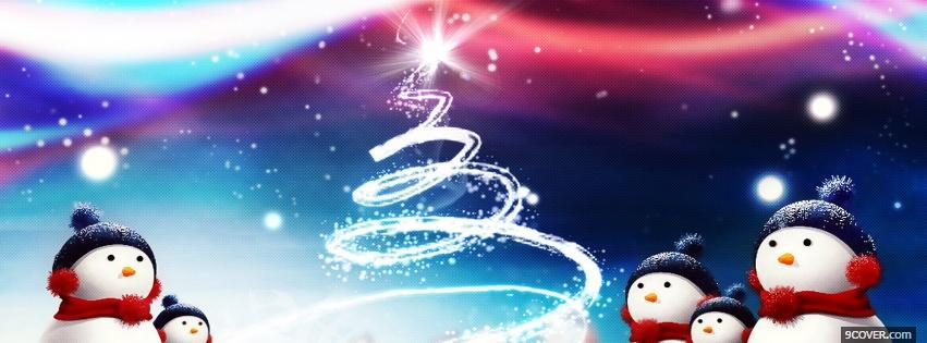 Photo snowmans and christmas tree Facebook Cover for Free
