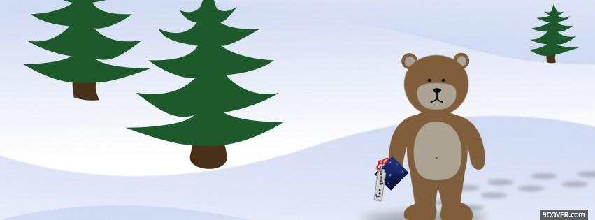Photo bear and christmas Facebook Cover for Free