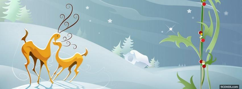 Photo reindeers in love Facebook Cover for Free
