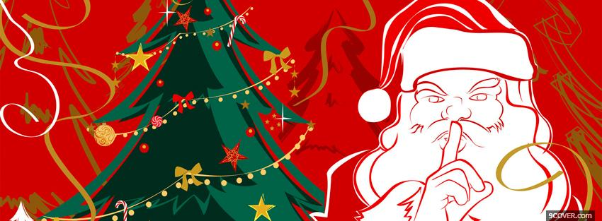 Photo santa claus tree christmas Facebook Cover for Free