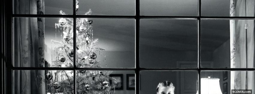 Photo black and white christmas Facebook Cover for Free