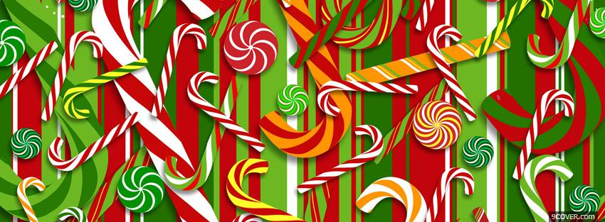 Photo christmas candy canes Facebook Cover for Free