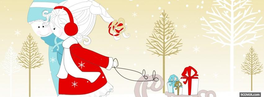 Photo couple in love for christmas Facebook Cover for Free